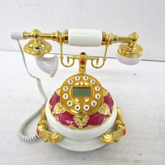 None Other - Ornate Gold Tone Push Button Telephone